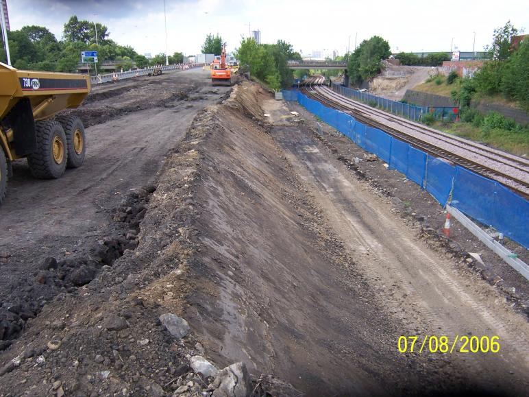 South Abutment excaavtion in progress with Trough route completed