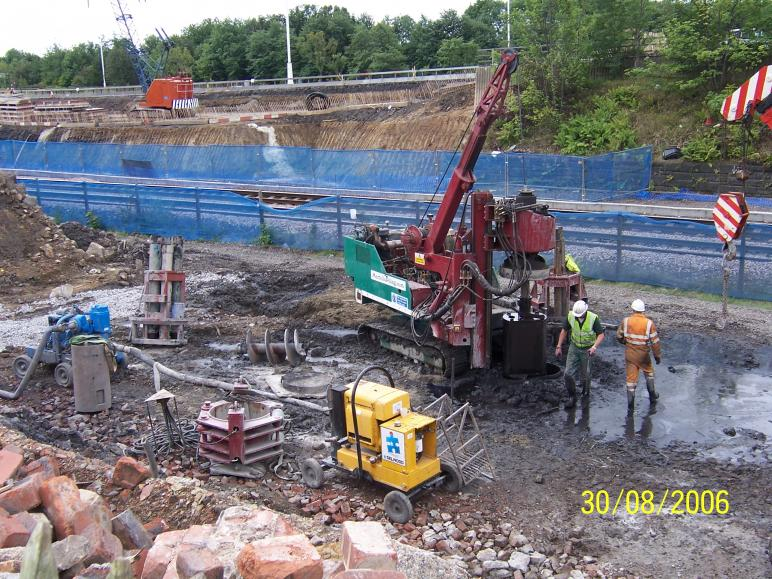 Piling ongoing on the North Abutment