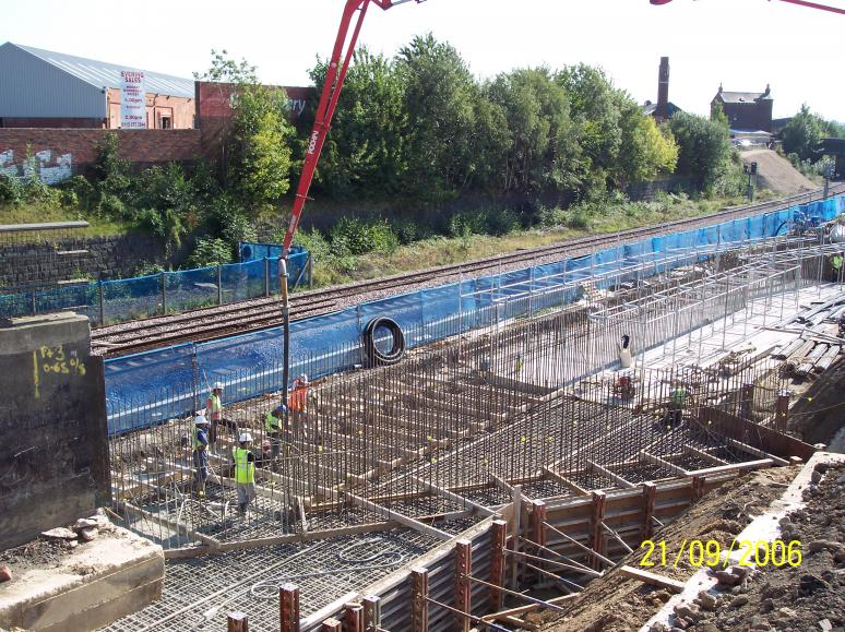 South Abutment - 2nd base being Cast