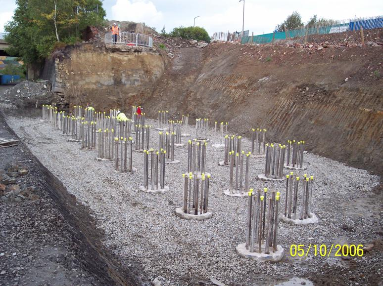 North abutment piles broken down and being levelled for blinding with stone.