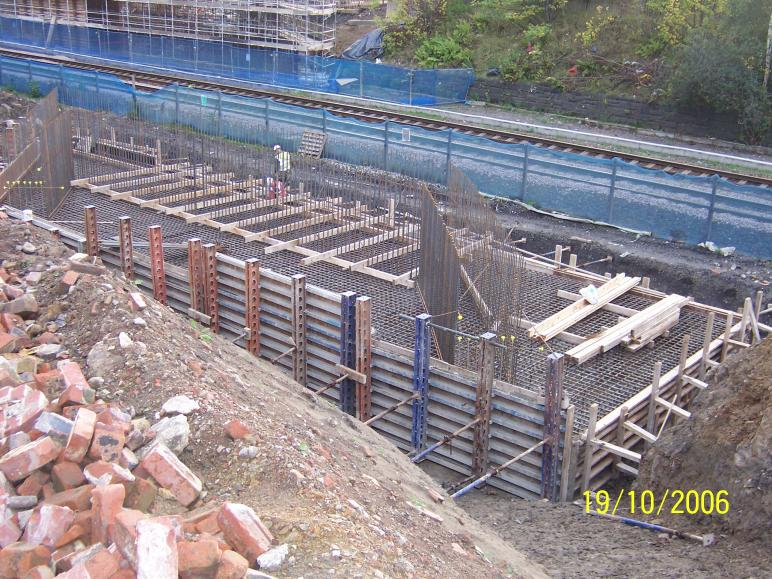 North Abutment Base ormwork set up for casting