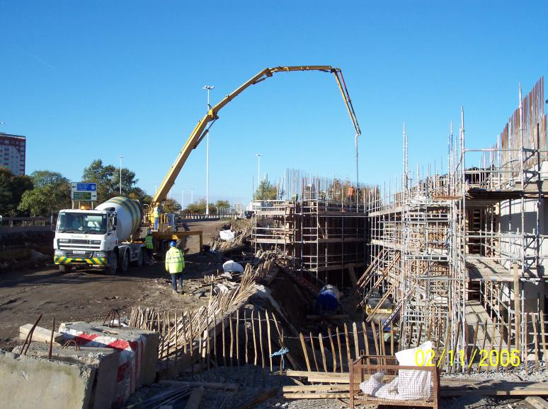 South Abutment - West wingwall being cast