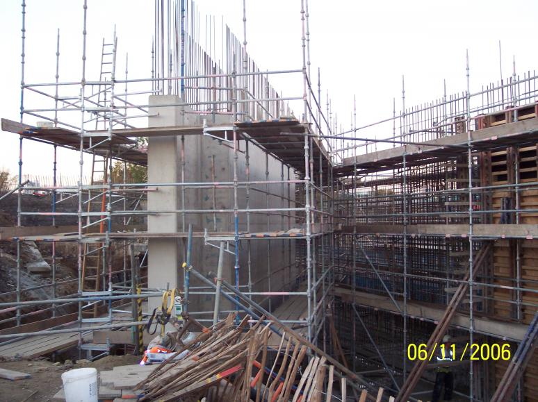 South Abutment wingwall formwork removed
