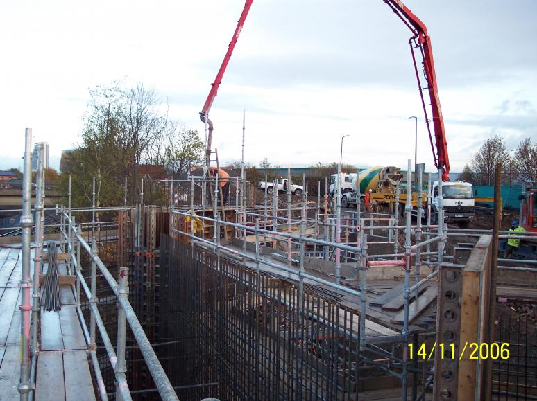 North Abutment West Wingwall being cast