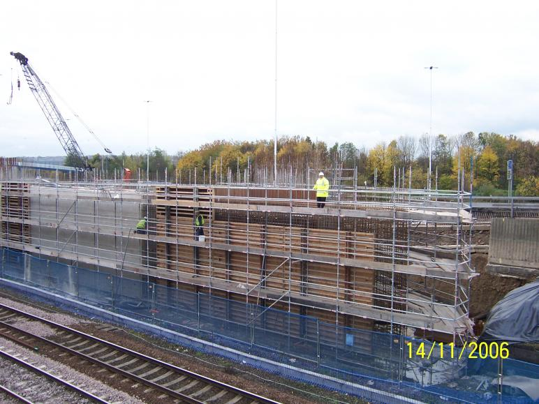 South Abutment formwork being lifted into place.