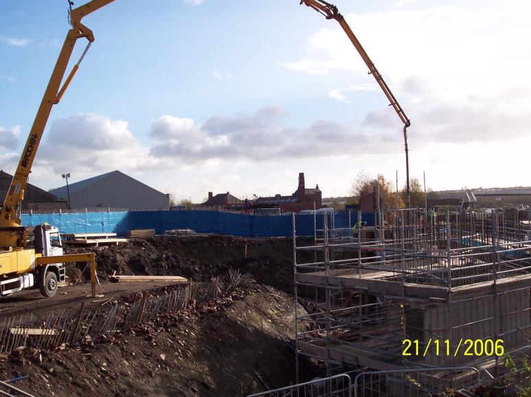 North East Abutment being cast