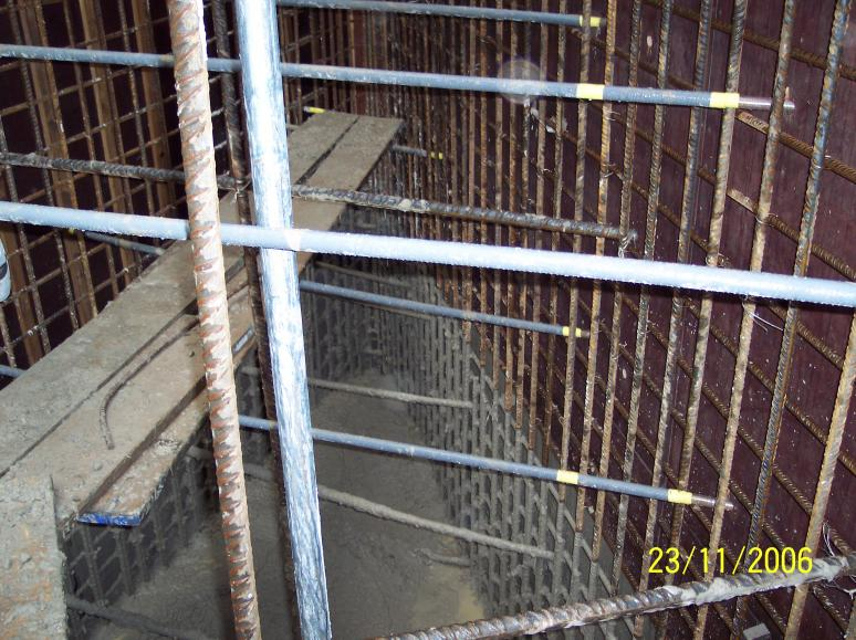 Inside the Formwork during concrete operation.