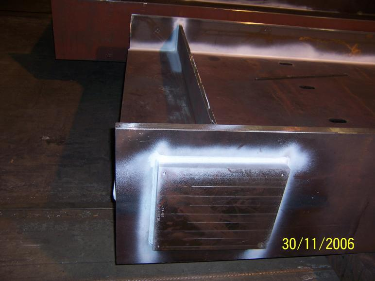 Steel being fabricated with the taper plate and stiffeners