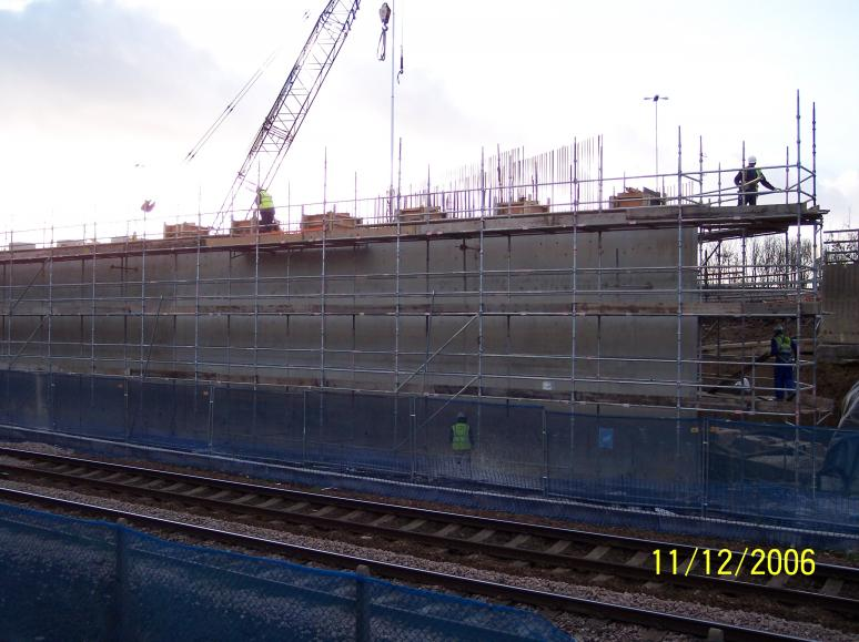 South Abutment Formwork being removed and bearing plinths being cast