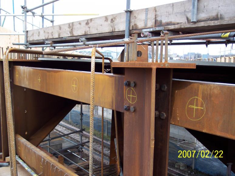 Steel work marked up for welded anchorages