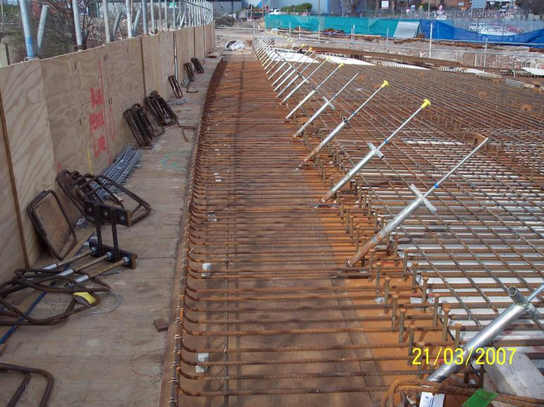 Reinforcement being put in place on the main soffit