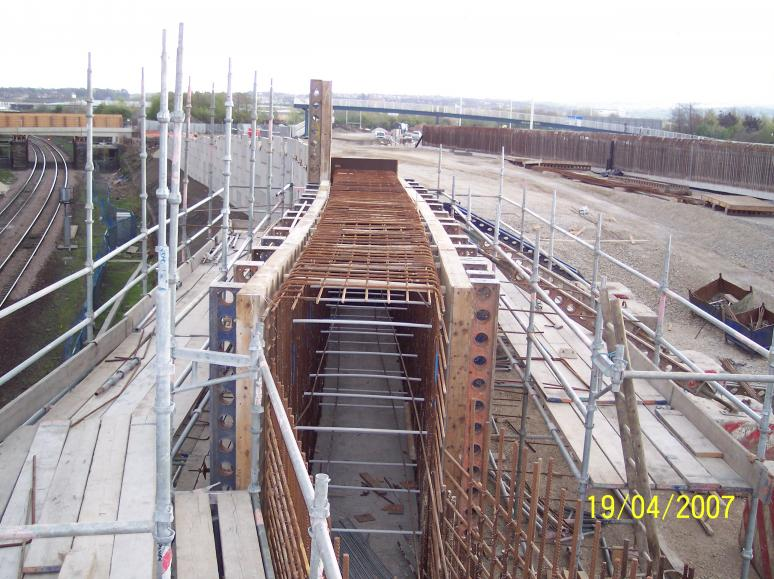Formwork being set up to the top section of the wingwall