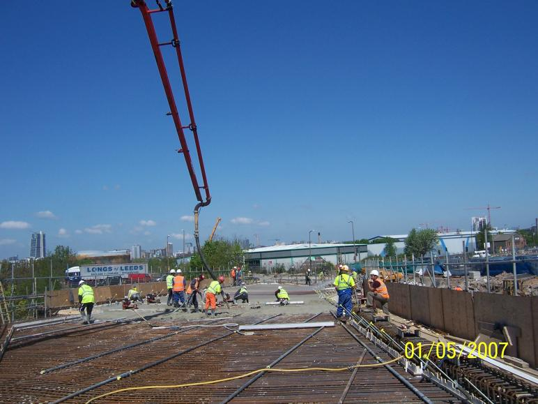 Concrete being placed to the bridge Deck