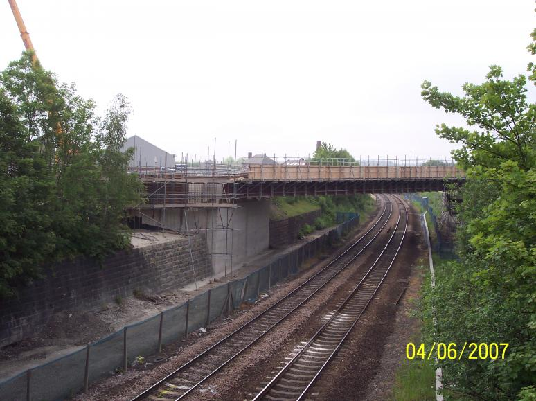 View East to the bridge showing progress at track level.