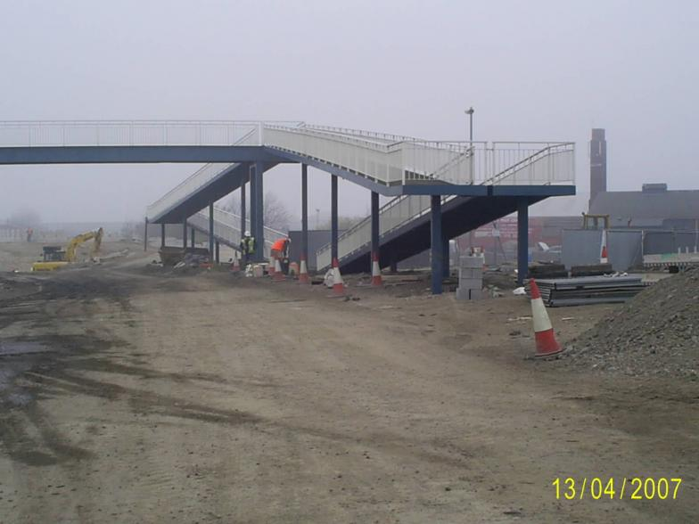 Central ramp being moved and reerected
