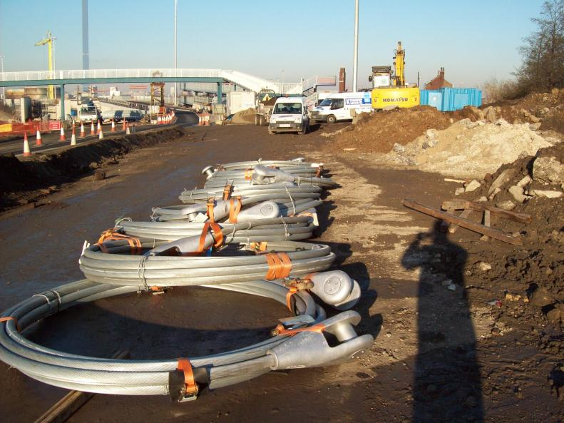 Steel cables delivered to site