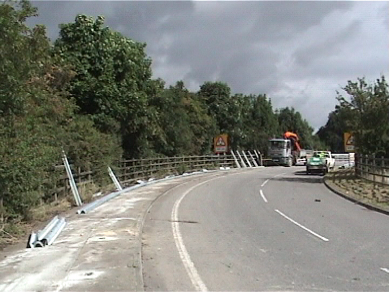 Crash Barriers being fixed on the approach