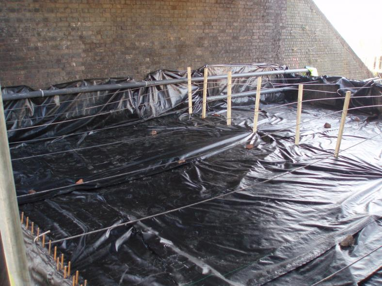 2nd layer of polythene and mesh set up ready for grout