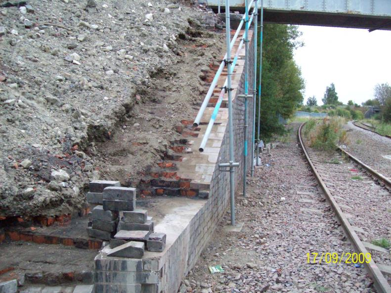 North Abutment cut down ready for coping stones
