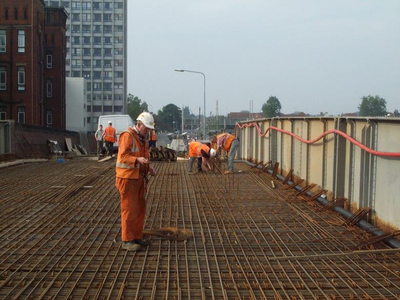 Reinforcement being fixed on the bridge deck