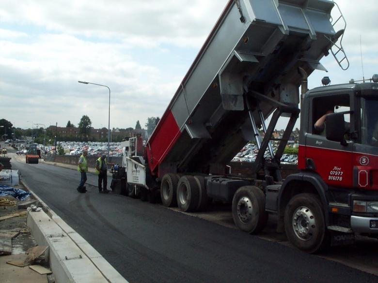 Black top being laid on the aproach