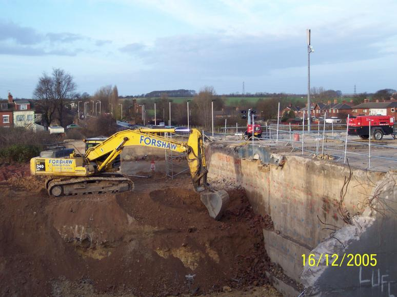 Excavation and drilling on south abutment