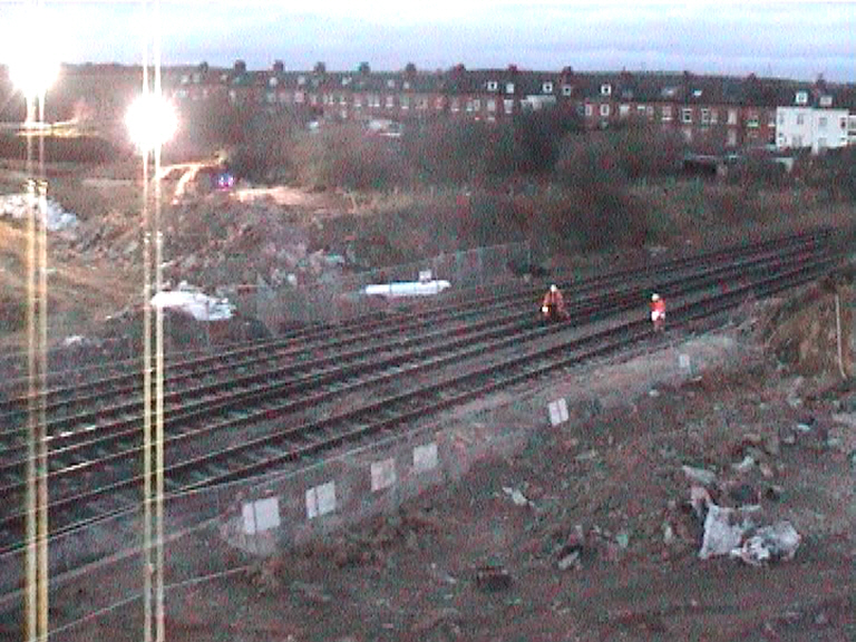 Track being inspected and opened to trains