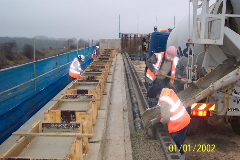 South Abutment bearing plinths being cast