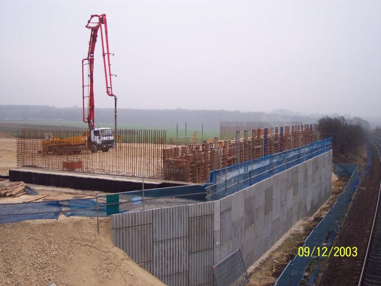 North Abutment concrete pump getting ready to cast the abutment