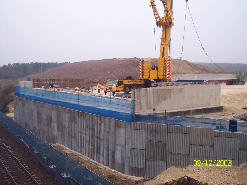 South abutment crane off loading concrete beams