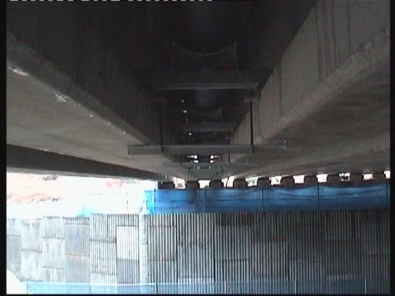 View on Pipe fixing between the beams