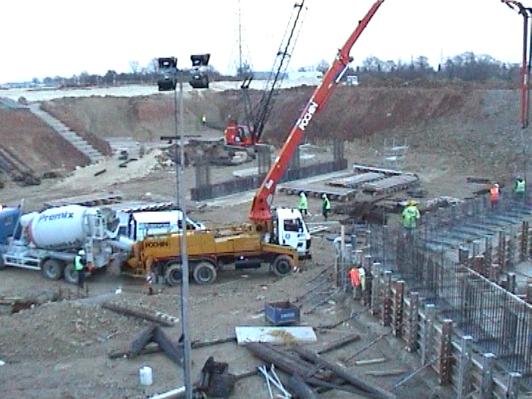 Concrete being placed to the West abutment base