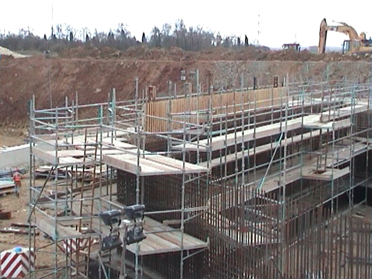 Scaffold being erected to the East abutment