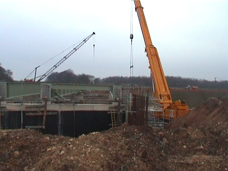 Girders fully erected - view on East abutment