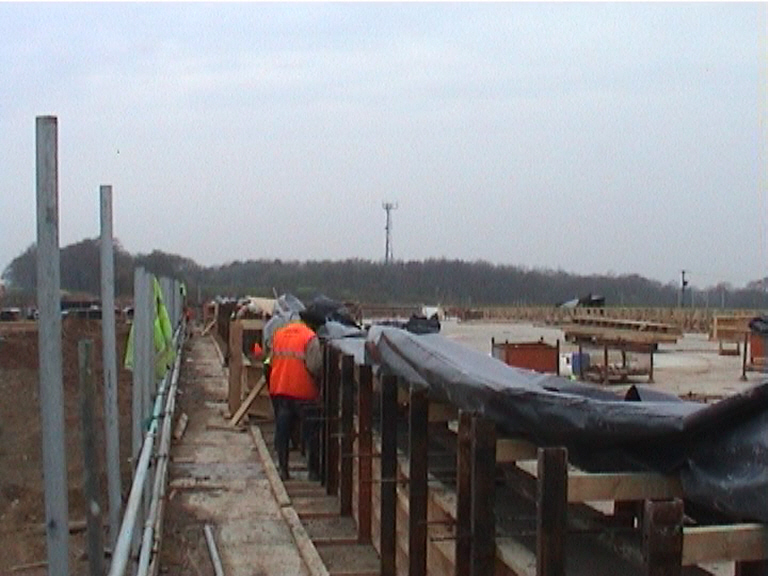 Parapet being cast and floated up