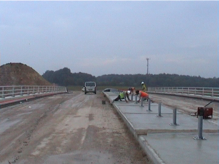Central reserve concrete being placed
